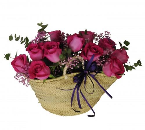 Capazo Rosas Fucsia