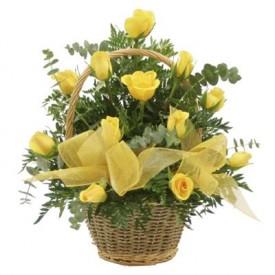 Cesta 18 Rosas Amarillas