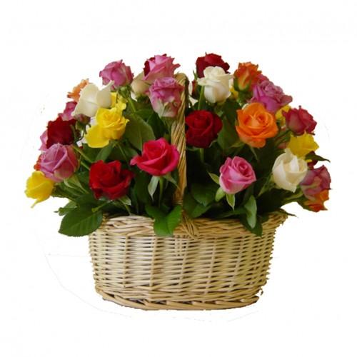 Cesta 50 Rosas Multicolor