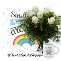 PACK Todo va a salir bien 6 rosas blancas + Taza