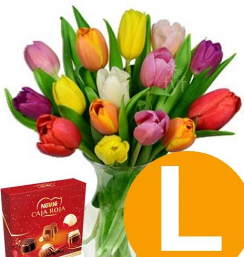 tulipanes -L-  + caja roja 45g